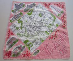 Vintage State Handkerchief Washington D.C. Map with by primrose
