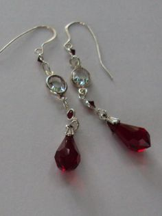 Swarovski Siam red and crystal dangle earrings  by BeautyOffered, $25.00