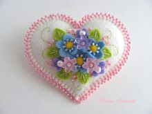 white heart with pink edge pin - felt craft brooch pin heart shape
