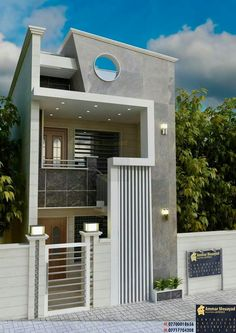 To see more Visit 👇 3 Storey House Design, Bungalow House Design, House Front Design, Small House Design, Modern House Design, 20x40 House Plans, Beautiful Modern Homes, Indian House Plans, Model House Plan