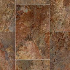 Take Home Sample - Rustic Rectangular Slate Clay Vinyl Sheet - 6 in. x 9 in., Rectangular Slate With Urethane Wear Layer Vinyl Sheet Flooring, Slate Flooring, Kitchen Flooring, Kitchen Backsplash, Luxury Sheets, Waterproof Flooring, Vinyl Sheets, Terracotta, Tile Floor