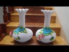 3D Origami Vase V4 Tutorial | DIY Paper Flower Vase Home Decor - YouTube