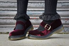 fathersshoes:  Doc Marten Red Velvet Mary Janes.
