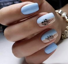 Light Blue Nails, Cool Nail Designs, Nails Inspiration, Fun Nails, Manicure, Nail Art, Beauty, Nail Ideas, Hairstyle