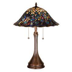 Meyda Tiffany 14574 2 Light Peacock Table Lamp, Mahogany Bronze
