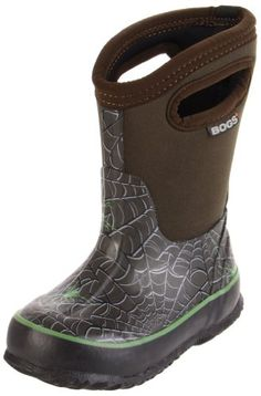 $52.70-$68.00 Baby Attracted to mud puddles and dirty snow banks like a moth to a flame, your little man will have warm dry feet the whole winter through when he's wearing the Bogs Boys' Classic Hi Spiders Rain Boots. These Bogs boots are made from a 4-way stretch Neoprene booty and a durable hand-lasted rubber shell for 100% waterproof protection and comfort way beyond that cheap pair of rubber ...