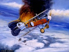 Balloon Buster, 25th January 1918 by David Pentland.  German ace Lt. Fritz Roth of Jasta 23, flying an Albatross D.Va scores his first of three balloons in one days action. By the wars end he had ACCOUNTED for 20 balloons and 8 Allied Aircraft.