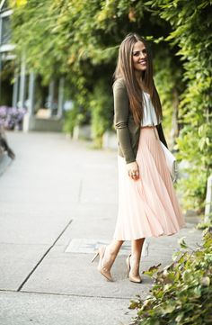pink micro pleats. - corilynn. White top+blush pleated midi skirt+camel pumps+khaki cardigan+white clutch+gold necklace. Fall Event Outfit 2016