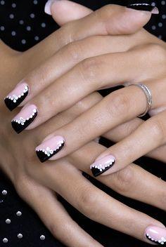 Elegant Nail Designs, French Nail Designs, Pink Nail Designs, French Manicure Acrylic Nails, French Tip Nails, Black Nails, Pink Nails, White Nails, Pretty Nail Art