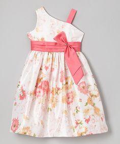 White & Pink Floral Asymmetrical Dress - Girls by Jayne Copeland #zulily #zulilyfinds