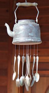 "5 Ways to repurpose ""junk"" into garden treasures - love this teakettle + silverware windchime!   *********************************************  FrugalGranola - #upcycle #repurpose #recycle #garden #kettle #teakettle #teapot #silverware #windchime #wind #chime #collection #DIY - tå√"