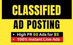 I will post your ads on top rank classified ad posting sites Facebook Marketing, Digital Marketing, Flyer Distribution, Ad Site, Seo Professional, Web Research, Post Ad, Website Ranking, Islam Facts