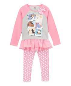 Another great find on #zulily! Pink Ruffle Long-Sleeve Tee & Pants - Toddler & Kids #zulilyfinds