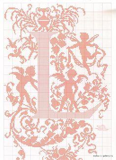 "cross stitch alphabet in 2 colors- very ornate monogram 26 single letters -- ""L"" #12"