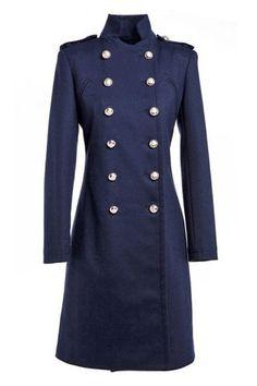 ROMWE   Double-breasted Epaulet Embellished Cropped Deep Blue Coat, The Latest Street Fashion
