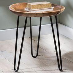 Teak Wood and Metal Side Table | VivaTerra