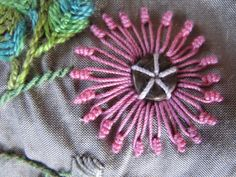 Gerbera - in Brazilian embroidery Brazilian Embroidery Stitches, Types Of Embroidery, Hand Embroidery Designs, Ribbon Embroidery, Cross Stitch Embroidery, Embroidery Patterns, Fabric Embellishment, Embroidery Techniques, Needlework