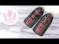 Вензеля на популярном дизайне с полосками♥ Гель лак♥Дизайн ногтей МК NAILS - YouTube