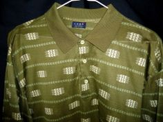 Como Sport Mens Polo Golf Shirt  Made In Italy Dri Fit Performance Sz L Green