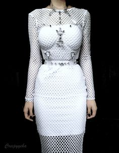 sexy, but does this come in black? Please and thanks. :) bodycon dress with mesh dress and bondage harness.