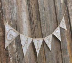 GATHER glitter burlap banner by LylaDee on Etsy