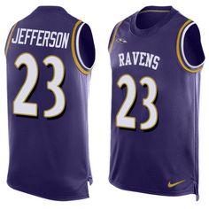 Men's Nike Baltimore Ravens #23 Tony Jefferson Elite Purple Player Name & Number Tank Top NFL Jersey