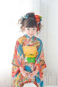 スカイイメージ4 Traditional Japanese Kimono, Traditional Fashion, Traditional Outfits, Geisha, Japan Fashion, Kids Fashion, Japanese Kids, Japanese Costume, Wedding Kimono
