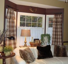 Bay window couches home decor ideas 2016 . bay window couches pillows for brown couch throw pillows for couch living room Bay Window Decor, Bay Window Curtains, White Curtains, Bay Window Treatments, Window Coverings, Cottages And Bungalows, Elegant Sofa, Custom Drapes, Living At Home