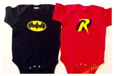 Bodysuits For Twins Batman and Robin Matching by PhunnieWunsies