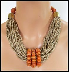 EARTH & FIRE - Handmade Indonesian Glass - Moroccan Shell - Carnelian - 20 Strand Necklace