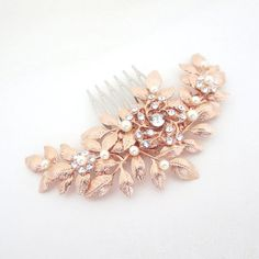 Rose Gold hair comb Bridal hair comb Rose Gold by treasures570