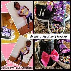 Custom bling Converse for a little fan with BIEBER fever! Too cute!