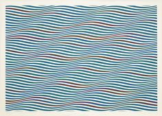 Bridget Riley - Dark Green and Blue with Red Added, Plain Diagonal [1979] | par Gandalf's Gallery