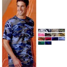 Adult Camouflage T-Shirt.. 5.5 oz. 100% cotton print jersey, ribbed crewneck, shoulder to shoulder taping, double needle sleeves and bottom hem, urban woodland and urban digital sewn with 100% cotton thread.