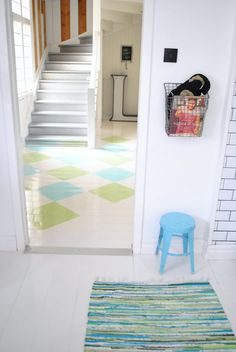 Painted floors are a hot item in home décor right now. They've been around for years, of course, but they have recently taken a turn for the popular. The g