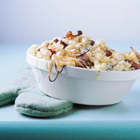 Creamy Macaroni and Cheese  Makes: 6 servings  Prep: 10 mins Cook: 10 mins Bake: 350°F 30 mins Stand: 10 mins    This ultra-hearty spin on classic mac 'n' cheese features blue and mozzarella cheeses, bacon, and onion. Try it with cavatelli or campanelle for a change of pace from elbow macaroni.