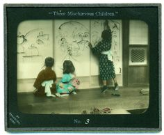 Three mischievous children, №3 (or Children draw pictures on Shoji paper soon to be removed and replaced), ca. 1909 by Eliza R. Scidmore    K. Tamamura is publisher