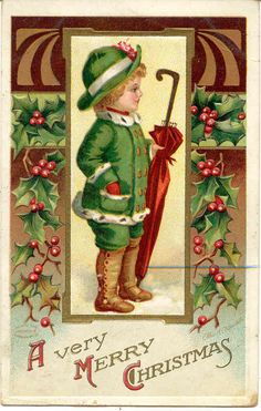 """"""" Heartiest Christmas Greetings """" Vintage Artist Ellen Clapsaddle Signed Post Card. Published by the Int'l Art Company, with a DB-USD-PM 1918 and in Excellent condition. Karodens Vintage Post Cards."""