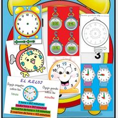horas del reloj: Panel con las reglas horarias Fichas en color para decir las horas Relojes para representar distintas horas Dibujos para colorear