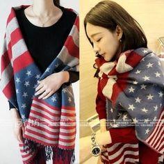 4bc201fe4 Stars and Stripes Warm Scarf. Bufanda Con Bandera Americana CachemiraEstrellasRayas