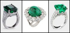 Three Fabergé emerald and diamond rings.