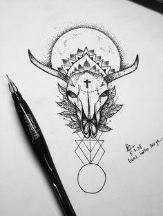 Lines and dotworks bull skull tattoo design