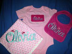 Pink aqua baby set bib blanket onesie