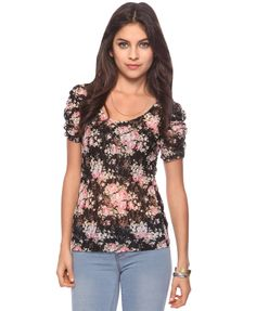Ruched lace top, black and pink - Forever21 $11.80