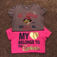 ⚾️STL Cardinals T-shirt Bundle Both are Majestic Brand NWOT never worn. Pink tee is made from 100% cotton. Gray tee is 52% cotton/48% polyester. Both are a size Large. Majestic Tops Tees - Short Sleeve