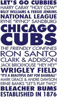 Chicago Cubs Baseball Sports Subway Art Vinyl by GrabersGraphics, $34.00