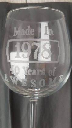 Personalised Birthday Year Etched Glass, Name or Message Can Be Added To Reverse by NEVERGROWUPUK on Etsy Etched Glass, Glass Etching, Wine Glass, Personalized Gifts, Handmade Gifts, Never Grow Up, Uk Shop, Unique Jewelry, Tableware