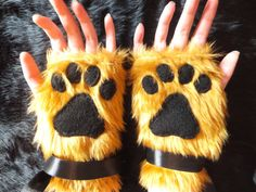 Brown Furry Wolf Fox Dog Bear Lion Cat Paw Print Fingerless Gloves Wrist Warmers