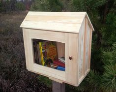 Unfinished little free library | Wooden Library, Mini library, Book house, Book box, Neighborhood library, Book exchange by PinocchioUK on Etsy https://www.etsy.com/listing/489024803/unfinished-little-free-library-wooden