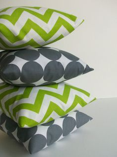 Green and Gray Decorative Throw Pillows  20 x 20 by skoopehome, $95.00